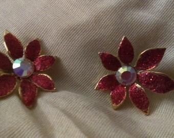 Retro flower glitter pierced earrings