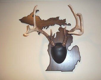 Michigan deer antler plaque and mounting kit- Solid curly maple, deerskin leather