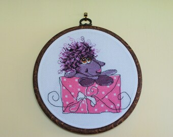 Handmade sheep cross stitch Embroidery RTO