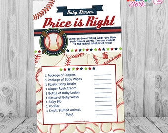 Baseball Baby Shower Game, Baby Shower Games Printable, Baseball Price is Right Game INSTANT DOWNLOAD