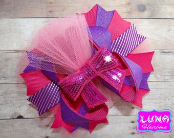 pink and purple over the top hairbow, princess hair bow, pink OTT hair bow, boutique hair bow