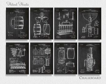 Beer Patents Set of 8 Prints, Beer Prints, Beer Posters, Beer Blueprints, Beer Art, Beer Wall Art, Beer Art