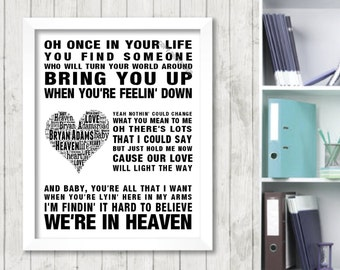 Bryan Adams Heaven Music Love Song Lyrics Print Poster Word Art 2 Colours  Heart Design Picture Gift Digital Download