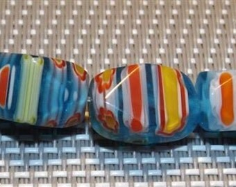 5 Pearl artisan Chinese Millefiori, striped, 9x13mm