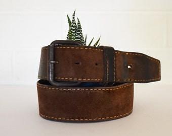 Vintage Leather Belt - Brushed Cowhide - split lined - 70's Era