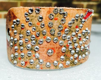 New Soft Multi Coloured (Pale Pinks) Leather Cuff Bracelet with Swarovski Crystals