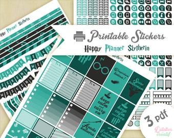 Harry Potter maison Serpentard | Printable stickers | 3 pdf | Téléchargement instantané | Planner, Happy planner