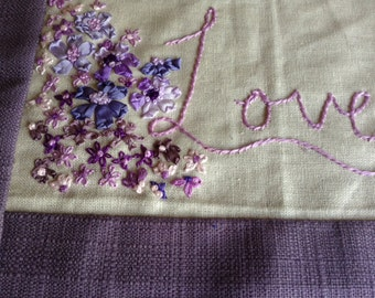 Original hand made embroidered piece of art with silk ribbon embroidery Love with flowers