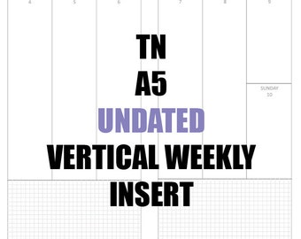 TN A5 Undated Insert: MO2P, Vertical WO2P w/graph paper, Habit Tracker, Online Order Tracking, Monthly Goals & Reflections Pages