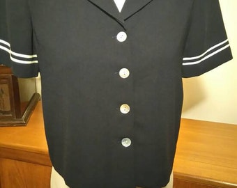 Navy sailor style blouse.