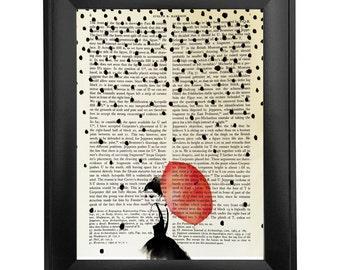 Red umbrella, printed on Vintage Paper - 8x10.5 - dictionary art print, vintage book print
