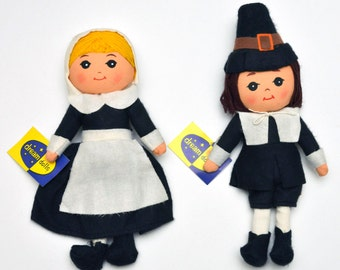 Vintage Big Eye Dakin Dream Dolls Thanksgiving Pilgrim Cloth Doll Set Japan 60's