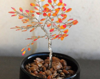Pink and Yellow Handmade Mini Miniature Wire Tree