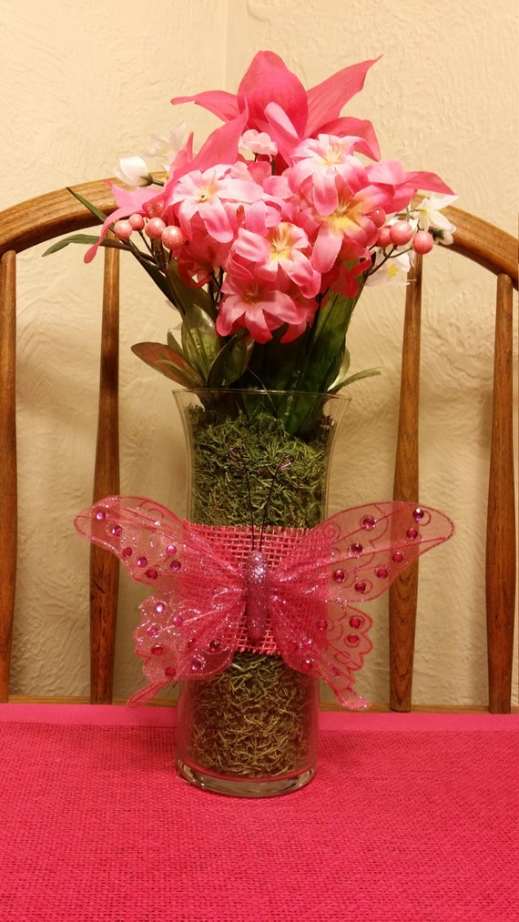 Handmade Pink Artificial Flower Arrangement with Glass Vase and Pink Embellishment (Sample)