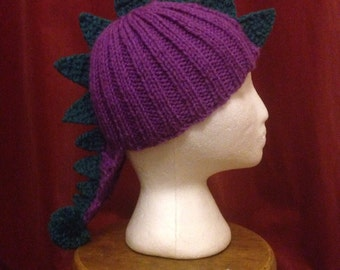 Childs Dinosaur/Monster Beanie Hat, various colour combinations, knitted to order