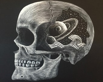 Scratchboard Skull. Prints or original