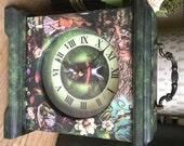 Alice in Wonderland Clock. Cheshire Cat Clock. Down the Rabbit Hole Clock. Carriage Clock. Alice  White Rabbit Clock.Unique  Clock.