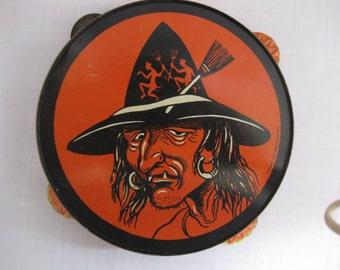 Vintage Litho Witch Tin Tambourine T. Cohn