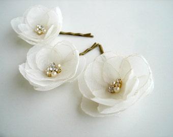 Weddings Ivory Bridal  Flower Hair Clips, Wedding Hair Accessories, Bridal Hair Piece,  Flower Hair Pins, Headpiece, Wedding Flower Clip