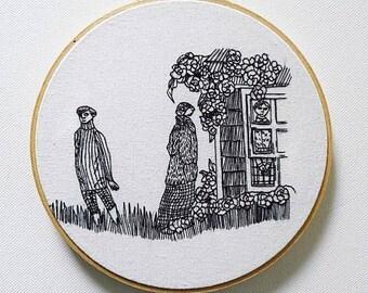 Edward Gorey drawing illustration embroidery hoop art