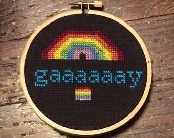 Gay Cross Stitch Gaaaaaay Seal Rainbow LGBT LGBTQ Pride Gift