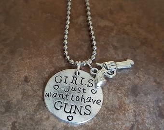 Girls just want to have Guns Necklace, Statement Jewelry, Pistol, Hand gun