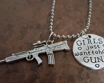 Girls just want to have Guns Necklace, Statement Jewelry, Rifle Charm