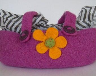 Felted Pink Knit Basket/Tote