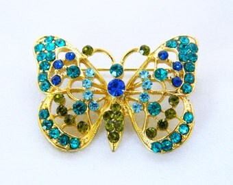 """Vintage Butterfly Rhinestone Figural Brooch Sweater Coat Pin Blue Gold Tone Free Shipping 1"""""""