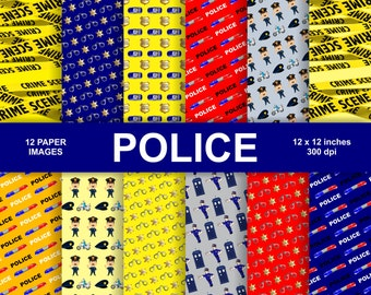 POLICE, scrapbook digital paper pack - printable papers - Instant download - 12x12 inches. 300 dpi.