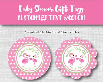 Customized, PRINTABLE Baby Shower Favor Gift Tags - Pink Flamingos