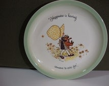 Vintage Holly Hobbie Collectors Plate 1972 Happiness Is Having Someone To Care For Holly and Cat