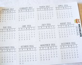 12 Months Mini Calendar Stickers for Journals and Planners