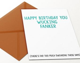 Wucking Fanker Funny Birthday Day Card Swearing