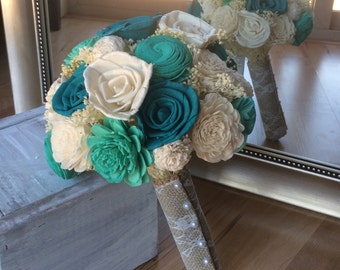 Rustic wedding bouquet, Turquoise and teal bouquet, Sola wood bouquet, Alternative bouquet, Bridal bouquet, Bridesmaid bouquet, Sola Wedding