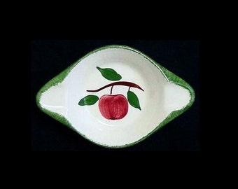 SALE Blue Ridge Apple SPOON REST Holder Dish Hand Painted Southern Potteries Dinnerware Quaker Apple Red Fruit  (B9) 6221