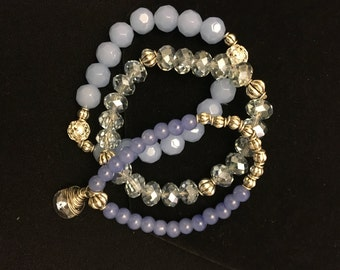 Light Blue Crystal Beaded Bracelet Set of three with Crystal Charm