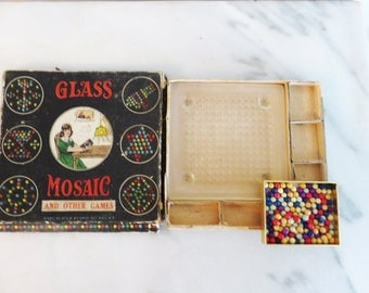 Vintage Glass Mosiac Game, 1920s game in box