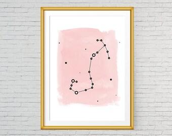 Scorpio art, Printable Scorio constellation poster, Scorpio zodiac print, Pink watercolor art, Astrology art, Zodiac sign art, Star decor