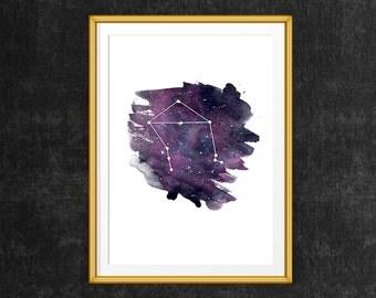 Libra art, Libra Zodiac Print, Zodiac printable poster, Libra Zodiac Constellation Wall Art, Libra art print, Astrology art print
