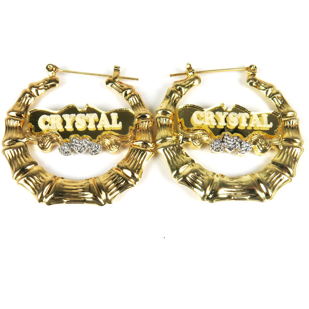 18k gold plated bamboo personalized name hoop earring 1 9