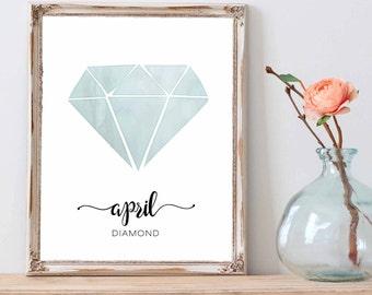 Birthstone print wall art printable, April Birthstone Diamond Gemstone Print Gemstone Art, Watercolor Birthstone, Birthstone Nursery Art