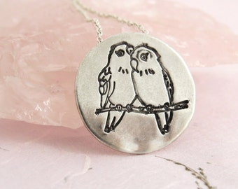 Valentines day gift, Love birds pendant necklace, unique silver pendant necklace, personalized engraving necklace, couples jewelry.