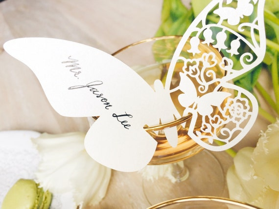 Beautiful butterfly calligraphy place cards