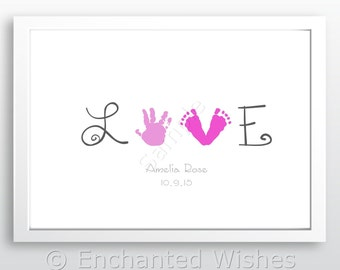 LOVE Handprint Footprint Art Print, Hand print, Child, Baby, Personalised, Baby handprint, Child Handprint, Handprint art (unframed)
