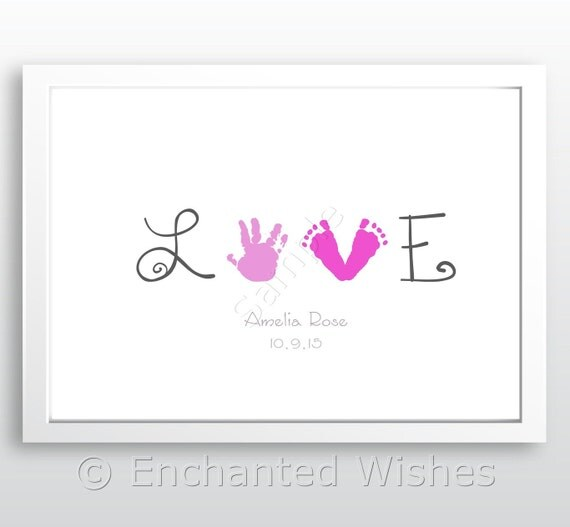 Love Handprint Footprint Art Print Hand Print Child Baby