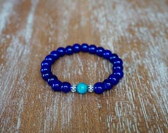 Blue and Aqua Beaded Bracelet