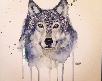 Bohemian Wolf Watercolour Print