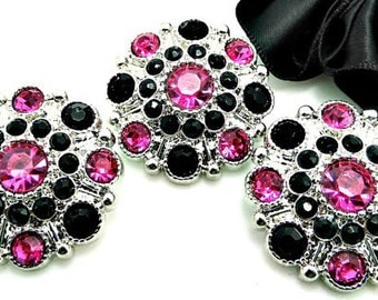 HOT PINK & BLACK Rhinestone Buttons Dress Coat Buttons Large Vintage Style Silver Acrylic Rhinestone Buttons Garment Buttons 28mm 5051 1 24R