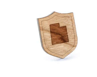 Utah Lapel Pin, Wooden Pin, Wooden Lapel, Gift For Him or Her, Wedding Gifts, Groomsman Gifts, and Personalized